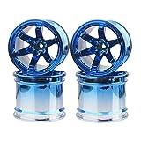 Boliduo 4PCS 1/10 Monster Truck Wheels, 6 Spokes Plastic Wheel Rim for RC Car 1:10 Monster Truck Bigfoot Traxxas HIMOTO HSP HPI Tamiya Kyosho (Blue)