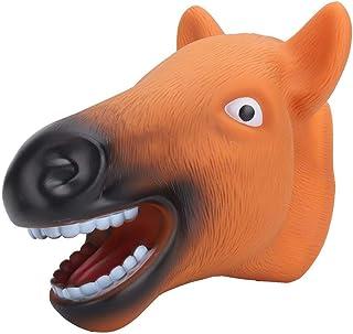 Juguetes de Marionetas de Mano de Caballo, simulación Realista Cabeza de Animal en Forma de muñeca de Mano Juego de Roles Accesorios de Juguete con Boca Abierta de Goma Suave