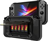 Slim Heavy Duty Switch Case [Stores 5 Games] Compact Multi Angle Holder Play Stand for Nintendo Switch Accessories [Black]