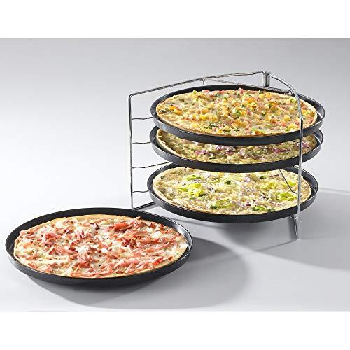 Fisko Pizzabackset 5-teilig - mit 4 bleche/Pfannen und Stahlhalter - für Ofen