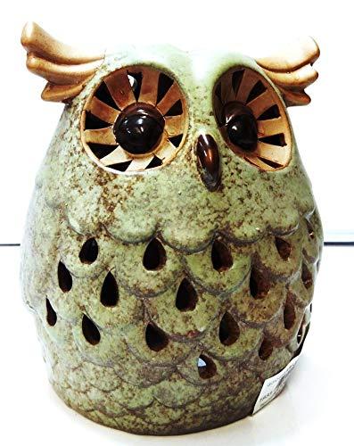 ICT Porta Candela Ceramica Tea Light Decorato Gufo Portacandela da 18 cm