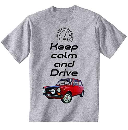 Teesandengines Autobianchi A112 Abarth Keep Calm Camiseta Gris para Hombre de Algodon Size Xlarge