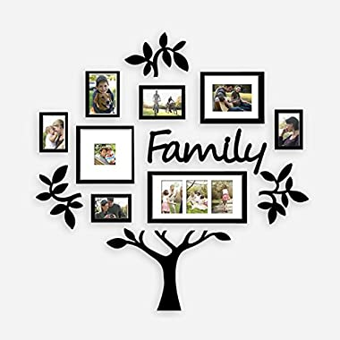 Jerry & Maggie - Photo Frame | Plaque College Frame - Wall Decoration Combination - Black PVC Picture Frame Selfie Gallery Collage With Hanging Template & Wall Mounting Design | Family Tree