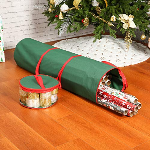 Christmas Wrapping Paper Storage Bag - Tear Proof 600D Canvas UnderBed Gift Wrap Organizer Bag Fits 20 Rolls 40 inch & Ribbon Holder,Dual Zips & Carry Handles