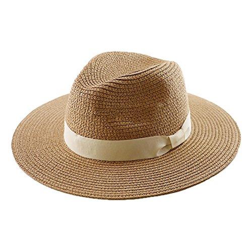 CHGDFQ Sombrero de paja Panamá, sombrero de paja de cabeza grande, sombrero de sol de playa al aire libre, protección UV esencial UPF 50+ plegable ajustable macho (color: caqui, tamaño: M)