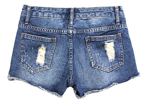 KXP Womens Distressed Ripped Low Rise Jeans Shorts Dark blue L