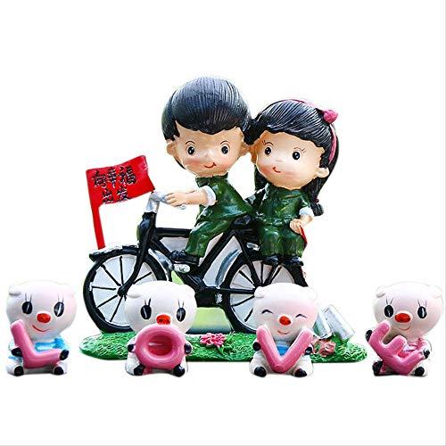 GIAO Figurines Decorativos para Coche, diseño de muñeca de Dibujos Animados, decoración Creativa Interior de Plantas en Maceta de Frutas