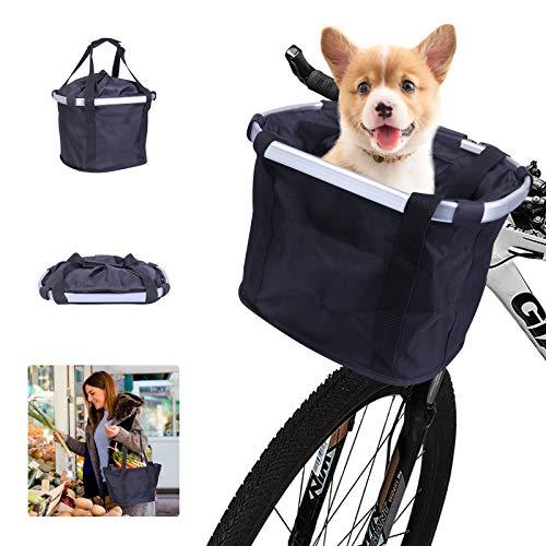 Fahrradkorb Hund Vorne,Fahrrad Lenker Korb Haustier,Faltbar Fahrrad Vorne Korb Gross Abnehmbare Lenkerkorb Tasche Wasserdichter mit Schultergurt für Hunde Picknick Einkaufen Fahrradlenker Tasche
