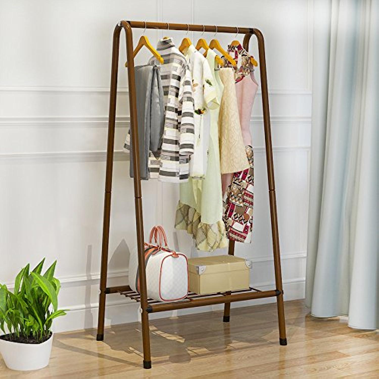 Coat Rack Hanger Floor Rack Simple Modern Bedroom Clothes Rack Metal Racks,Brown