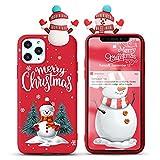 Yoedge Funda para Huawei P8 Lite 2017 / P9 Lite 2017 5,2', Navidad Carcasa Silicona Rojo con Dibujos Animados 3D Doll Toy, Suave Fina Antigolpes TPU Protector Case Cover Movil, Muñeco de Nieve 3