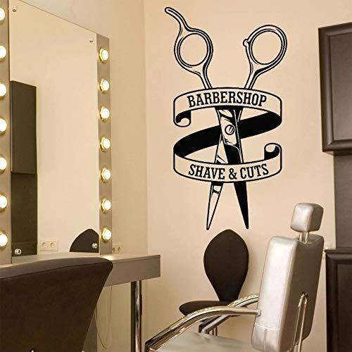 WERWN Barbería Pegatinas de Pared de Vinilo Tijeras calcomanías de patrón Pegatinas de Afeitado y Corte de Pelo peluquería Accesorios de decoración de Ventana