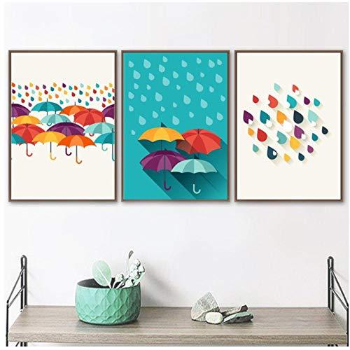 Mmdianpu Bunte Cartoon Regentropfen Regenschirm Leinwand Malerei Mode Nordic Poster Wandkunst Bilder für Kinderzimmer Kinderzimmer Home Decor (40x60 cmx3 ohne Rahmen)