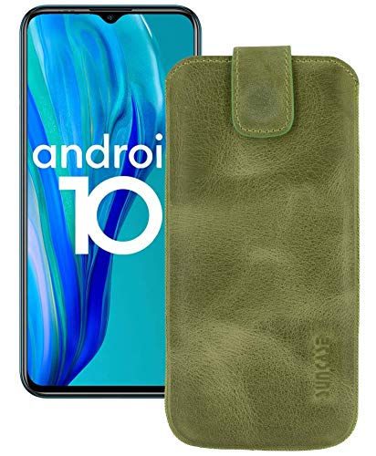 Suncase ECHT Ledertasche Leder Etui *Slim-Edition* kompatibel mit Ulefone Note 9P Hülle (mit Rückzugsfunktion und Magnetverschluss) in antik-Kiwi grün