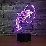 (Solo 1) Lámpara Dolphin Smart 3D, lámparas de noche LED de 7 colores para niños, lámpara de mesa Usb táctil, lámpara de noche para bebé