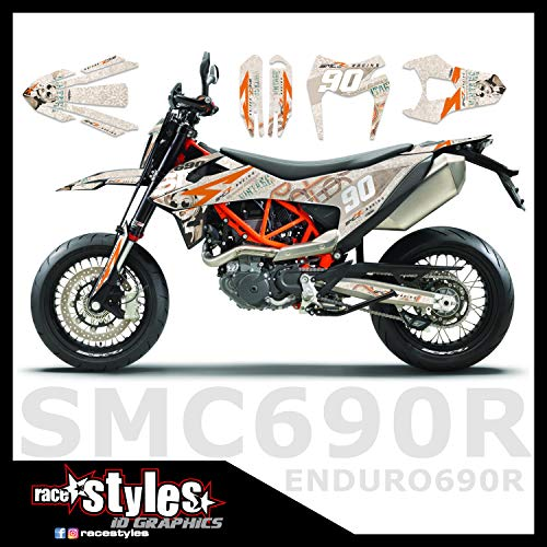 Vintage Retro MATT race-styles Dekor kompatibel mit KTM SMC R 690 2019 | Factory DEKOR Decals KIT Aufkleber Graphics