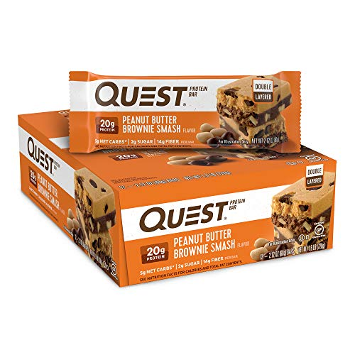 Subscribe And Save Deal – Quest Nutrition Peanut Butter Brownie Smash Protein Bar, High Protein, Low Carb, Gluten Free, Keto Friendly, 12 Count.