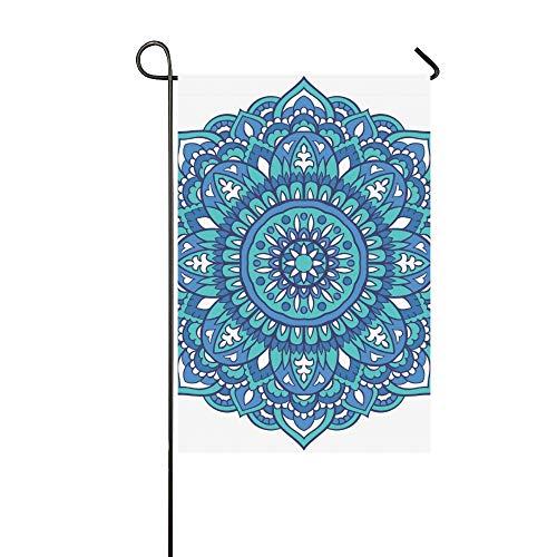 Startseite dekorative Outdoor doppelseitige orientalische Mandala Türkis Ornament Vorlage Garten Flagge, Haus Hof Flagge, Garten Hof Dekorationen, saisonale Willkommen Outdoor Flagge 12 X 18 Zoll Frü