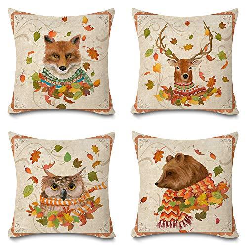 Faromily Autumn Wild Animals Fundas de almohada de algodón y lino de 45,7 x 45,7 cm, juego de 4