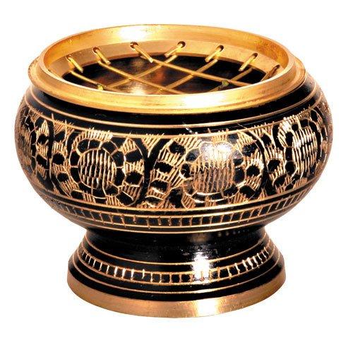 Brule encens laiton noir, bordeau et or