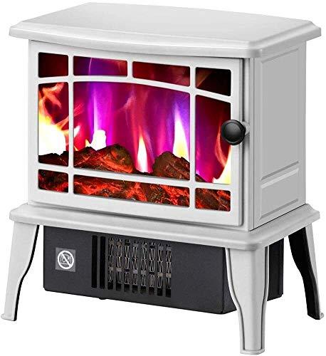 WNN -URG - Estufa eléctrica con quemador de madera con efecto llama, estufa portátil para chimenea, estufa de interior independiente, 1500 W URG (color: blanco)