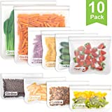 Reusable Storage Bags - 10 Pack Reusable Freezer Bags(2 Reusable Gallon Bags + 4 BPA FREE Reusable...