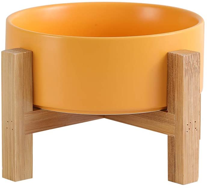 Ceramic Elevated Raised Cat Bowls ,Cat Food Dish with Stand, Raised Cat Food or Water Bowls Anti Vomiting,Pet Bowl with Anti Slip Rubber pad,Stress Free for Cats and Small Dogs(400ML/13.5OZ)