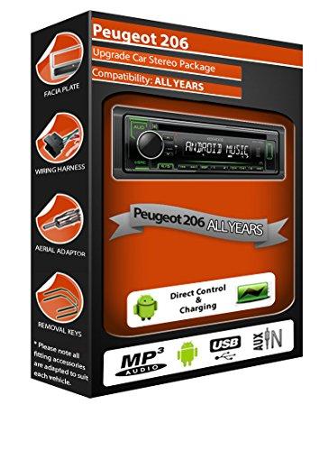 Kenwood - Radio stéréo pour Peugeot 206 - Lecteur CD - MP3 avec USB en façade et Aux In
