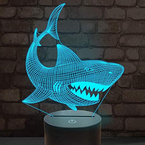 Novelty Llama Night Lights Alpaca 3D Illusion Lamp, Touch Sensor 7 Colors Changing Baby Bedroom Sleep Led Lamps For Kids (Color:Shark)