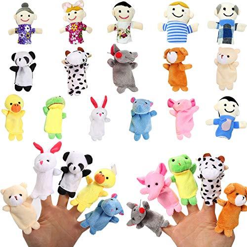 16 Pcs Finger Puppets Set,10 Animals Finger Puppets + 6 People Finger Family Members,Cloth Velvet...