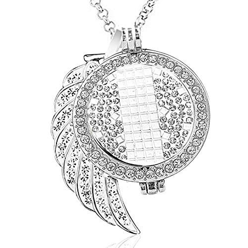 AKKi jewelry Damen Halskette 70 cm Silber Edelstahl Kette und Anhänger mit Münze 33 mm Set Angebot Coin Coins medalion Frauen Schmuck in Geschenktüte Zirkonia