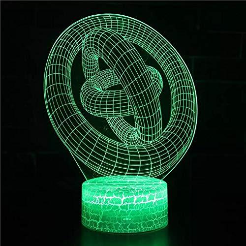 Encantadora luz de noche de arte abstracto luz visual 3D luz LED multicolor acrílico luz de noche multicolor decoración creativa lámpara de mesa pequeña