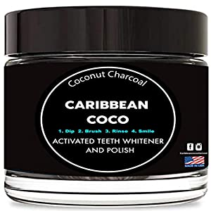 Caribbean Coco Activated Charcoal Teeth Whitening Toothpaste Powder – Organic Natural Carbon Coconut Formula for A Bright Smile – Made in The USA