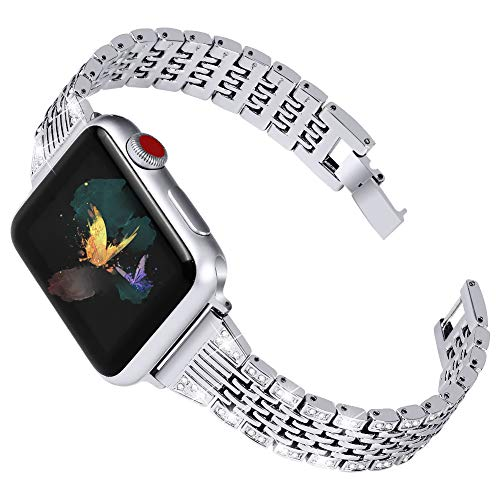 OULUCCI Bling Band Compatible for Apple Watch Band Series 6 5 4 SE 40mm/ iWatch Series 3 2 1 38mm, Wristband Strap Stainless Steel Metal Bangle Bracelet with Tool (Silver)
