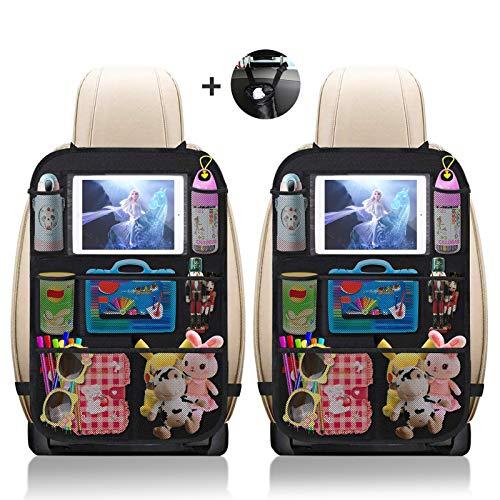 """UIHOL Organizer Sedile Auto Bambini, 2 Pcs Protezione Proteggi Sedile Posteriore con Multi-Tasca Portaoggetti (9 Pocket), Impermeabile Organizzatore Auto con Supporto Trasparente per 10"""" ipad Tablet"""