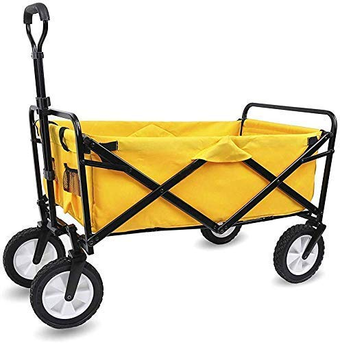 N/Z Home Equipment Storage Multifunction Portable Hand Trucks Collapsible Folding Wagon Utility Wagon Cart Outdoor Garden Camping Wagon Sports Wagon Heavy Duty Yellow Kitchen Trolley