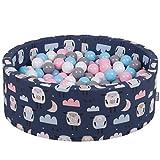 KiddyMoon Piscine À Balles 90X30cm/200 Balles ∅ 7Cm pour Bébé Rond Fabriqué en UE, Moutons-B Foncé: Blanc-Gris-Babyblue-Rose Poudré