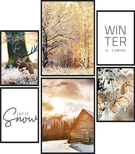 Papierschmiede Poster Set Let It Snow   6 Bilder als stilvolle Wanddeko   2X DIN A4 und 4X DIN A5   Schnee Weihnachten Winter