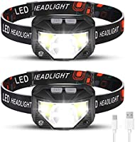 Rechargeable Headlamp 2 Packs, LED Headlamp, Head lamps for Adults, Flashlight with White Red Lights, USB Rechargeable...