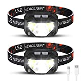 Foxdott Rechargeable Headlamp 2 Packs, LED Headlamp, Head Lamps for Adults, Flashlight with White Red Lights, USB Rechargeable Waterproof Head Lamp for Outdoor Camping Cycling Running Fishing