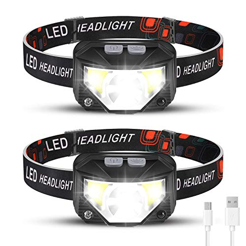 Rechargeable Headlamp 2 Packs, LED Headlamp, Head lamps for Adults, Flashlight with White Red Lights, USB Rechargeable Waterproof Head Lamp for Outdoor Camping Cycling Running Fishing