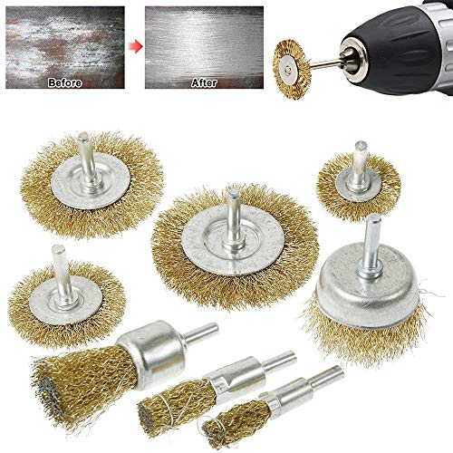 8pcs Brosse metallique pour perceuse en laiton, brosse rouille corrosion peinture avec tige de 1/4, Type plat Ø75/65/50/38 mm, bol Ø50mm, stylo Ø25/16/10mm