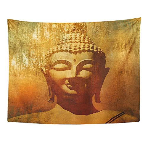 Remain Unique Tapestry Orange Buddah Buddha Head in Grunge Style Budha Painting Budda Silhouette Face Wall Hang Decor Indoor House Made in Soft