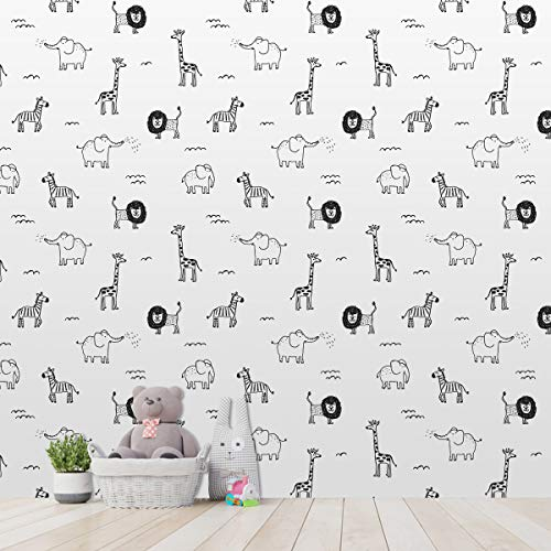 ZHOUHAOMAOYI Cute Hand-Painted Animal Children Wallpaper Living Room,Wallpaper Wall Mural for Livingroom Bedroom Kitchen Bathroom