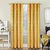 Always4u - Cortinas opacas de terciopelo dorado, aislamiento térmico, tejido suave y resistente a las arrugas, doble cortina con ojales, para dormitorio, salón, cocina, amarillo, 140 x 260 cm