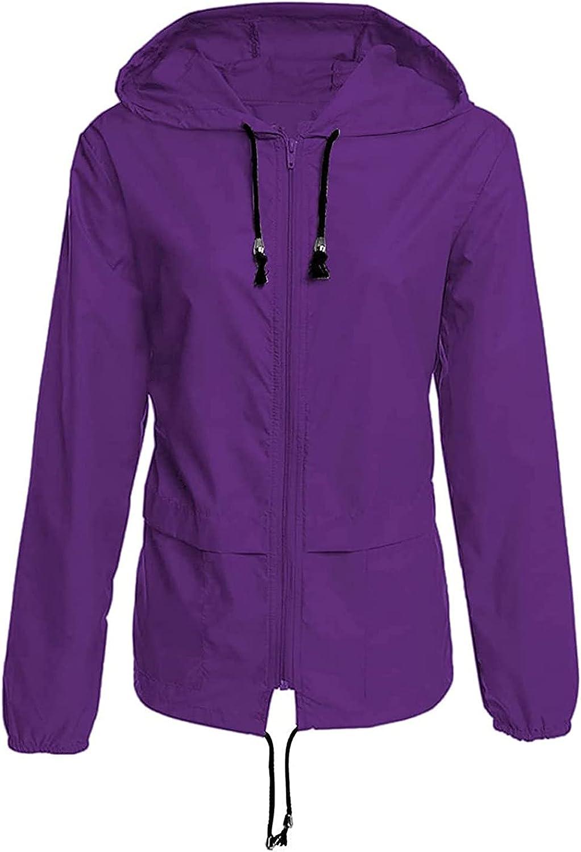 Womens Rain Jacket Plus Size Rain Coats Hood Llightweight Active Anoraks Trench Waterproof Poncho Outdoor Windbreaker