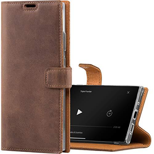 SURAZO für P40 Lite 5G - Premium RFID Echt Lederhülle Schutzhülle mit Standfunktion - Klapphülle Wallet case Handmade in Europa für Huawei P40 Lite 5G