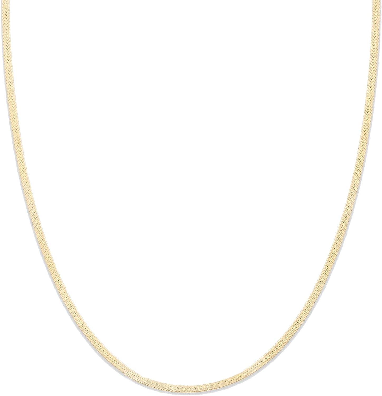 gorjana Women's Mini Venice Necklace, Flat 2mm Snake Chain Choker, 18K Gold Plated