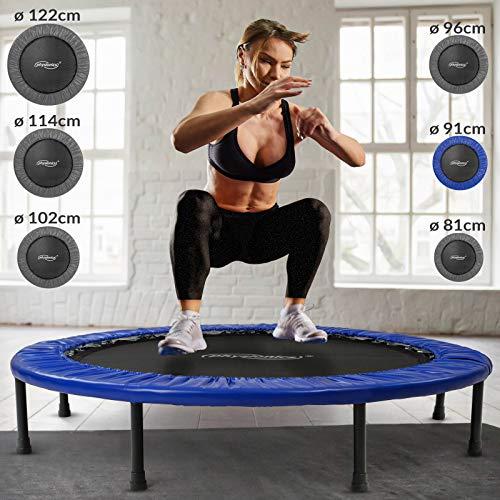 Physionics Mini Trampolino - Diametro a Scelta (81, 91, 96, 102, 114, 122 cm), Piedini in Gomma Antiscivolo, Portata Massima 100kg - Tappeto Elastico Fitness