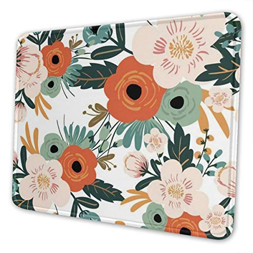 Mouse Pad Orange Flowers Pattern Gaming Mousepad with Stitched Edges Non-Slip Rubber Base for Computers Laptop Office & Home