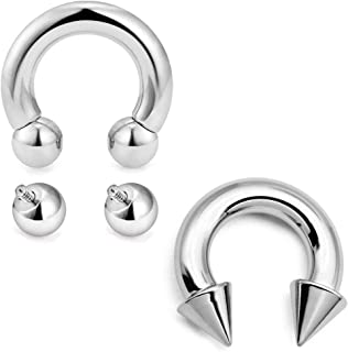 2pcs PA Rings Surgical Steel Internally Threaded Circular Barbells Horseshoe Piercing 2G-12G 12mm 16mm with 2pcs Replacement Balls